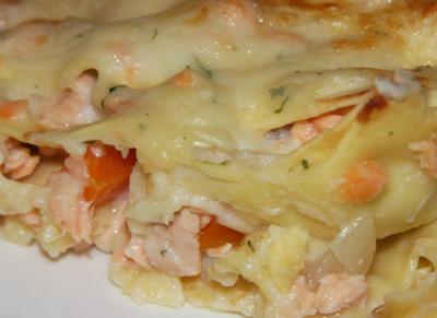 Lasagnes moelleuses au saumon frais