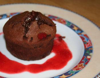 Moelleux au chocolat, coeur de fruits rouges